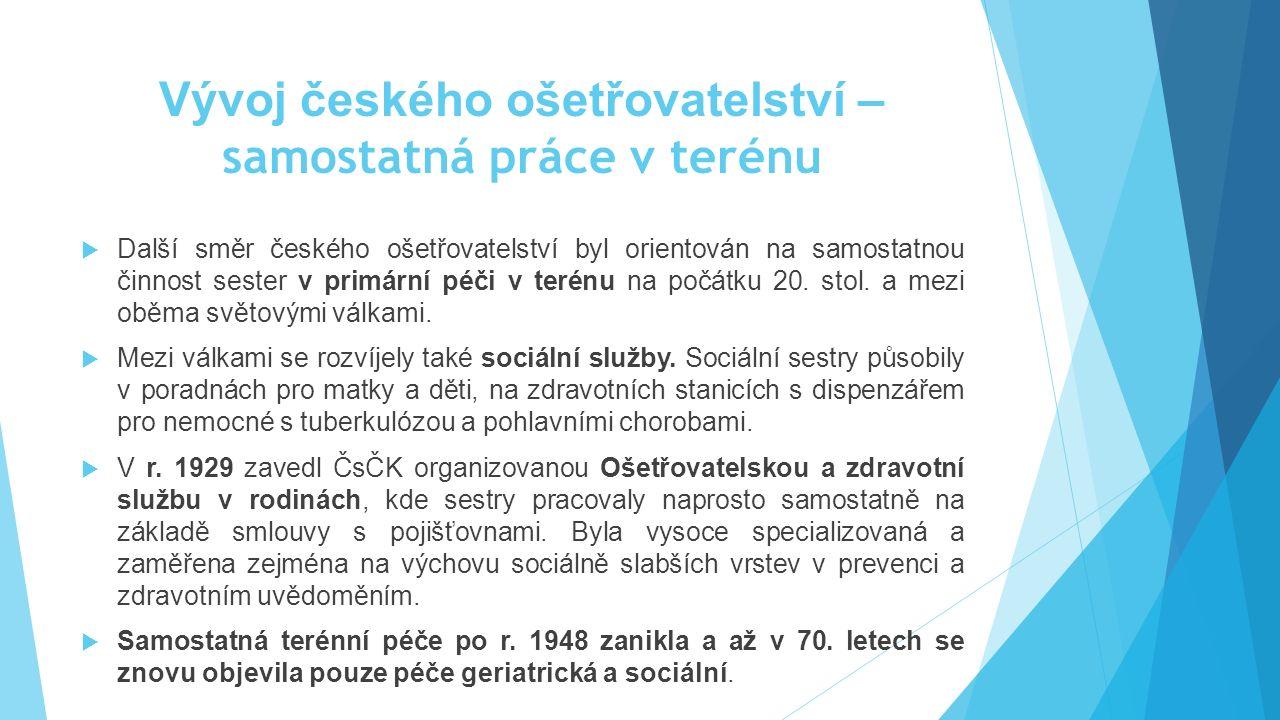 Vývoj českého ošetřovatelství – samostatná práce v terénu