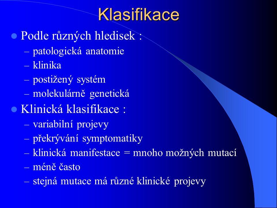 Klasifikace Podle různých hledisek : Klinická klasifikace :