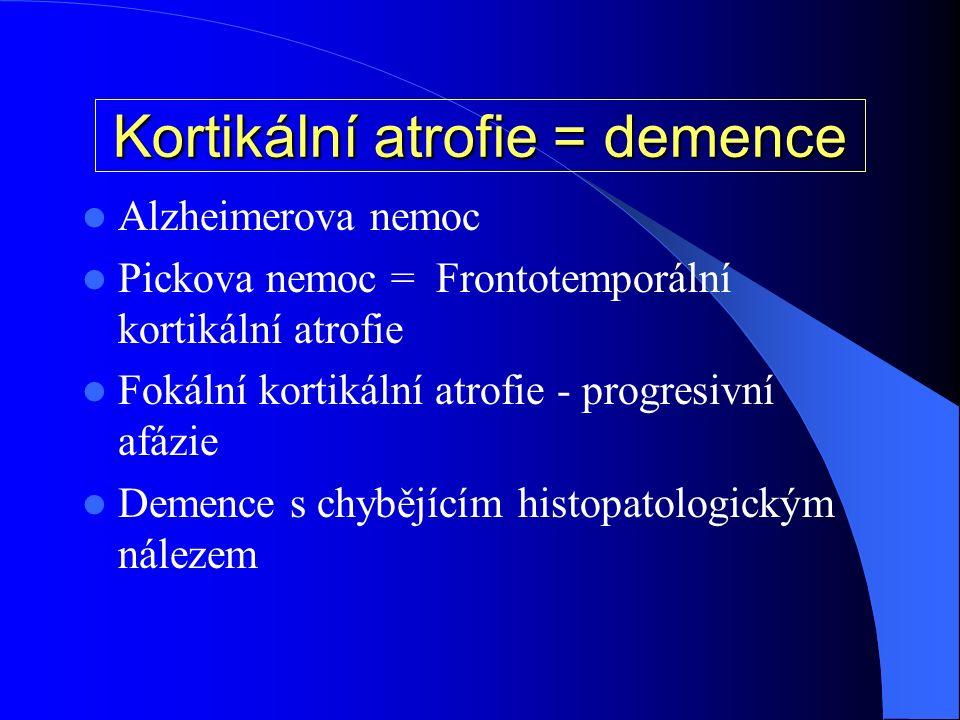 Kortikální atrofie = demence