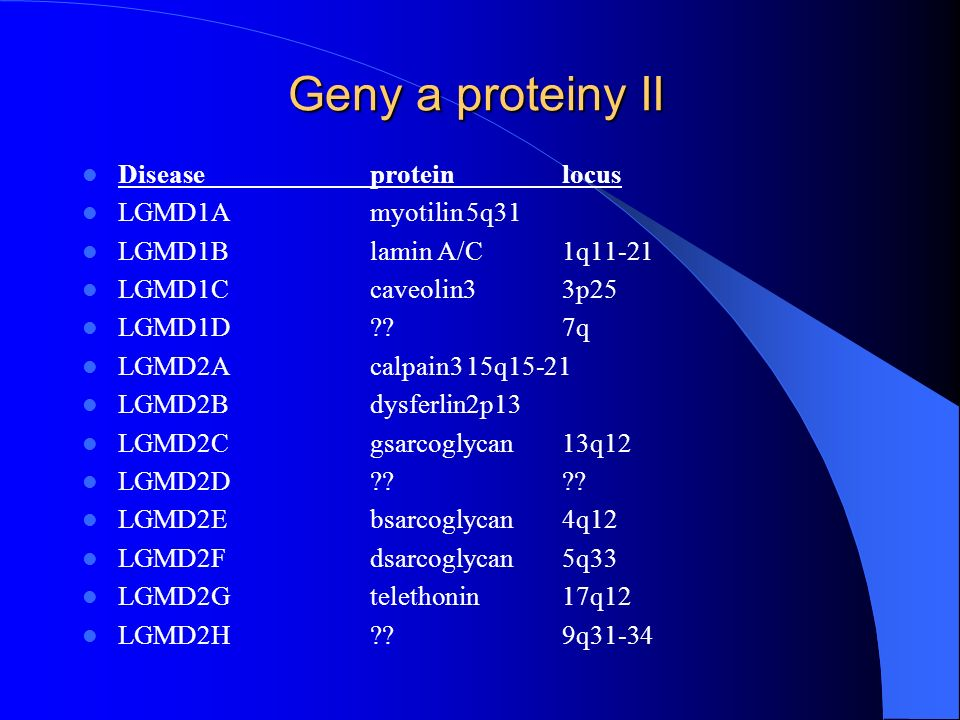 Geny a proteiny II Disease protein locus LGMD1A myotilin 5q31