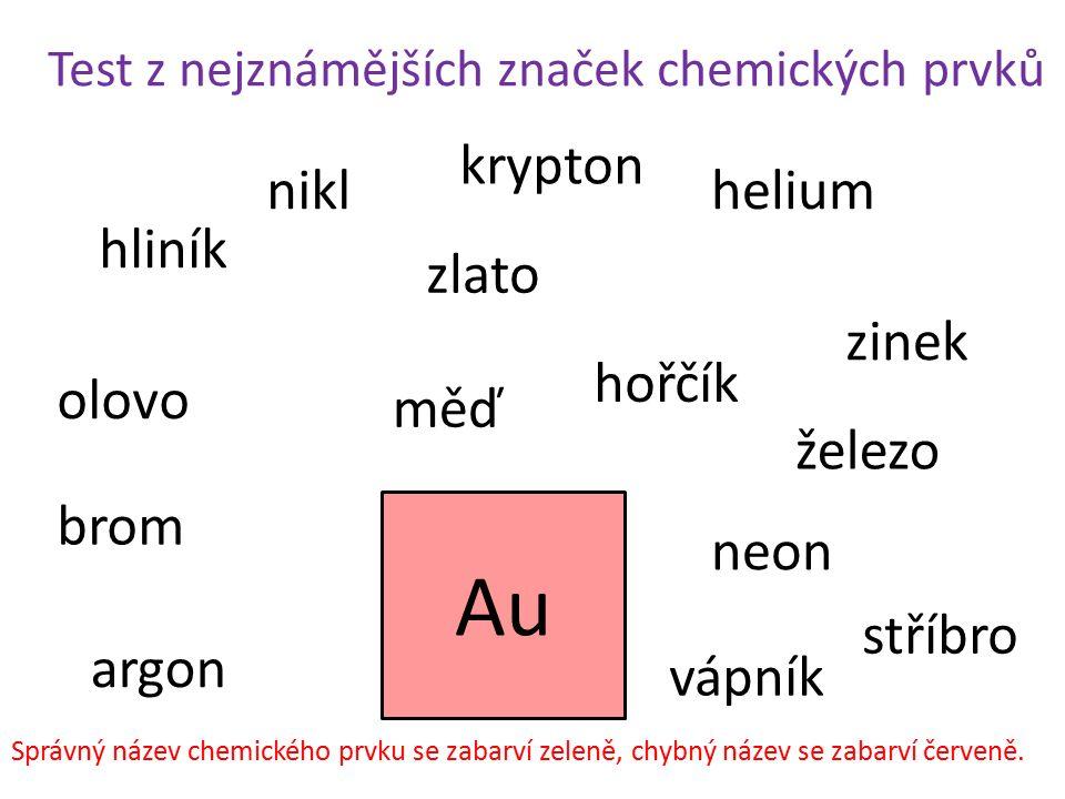 Au krypton nikl helium hliník zlato zinek hořčík olovo měď železo brom