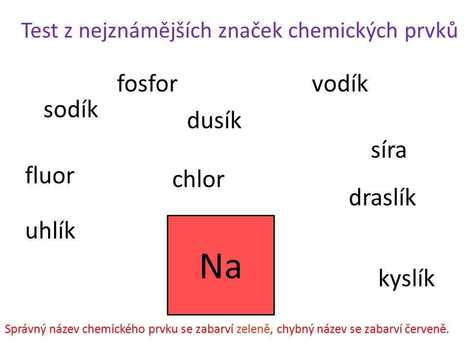 Na fosfor vodík sodík dusík síra fluor chlor draslík uhlík kyslík