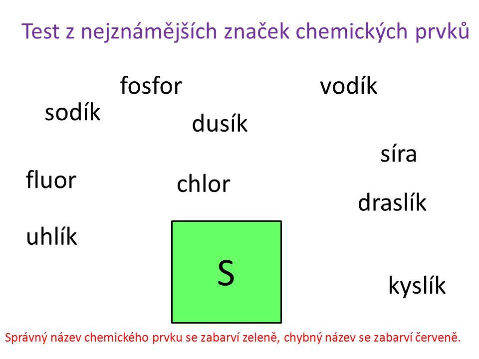 S fosfor vodík sodík dusík síra fluor chlor draslík uhlík kyslík