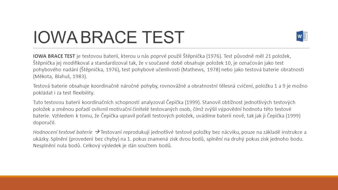 IOWA BRACE TEST