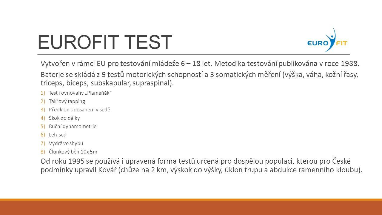 EUROFIT TEST Vytvořen v rámci EU pro testování mládeže 6 – 18 let. Metodika testování publikována v roce 1988.