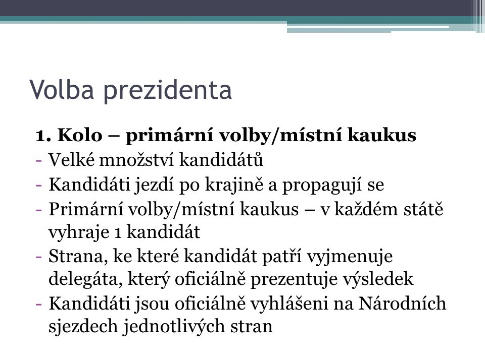 Volba prezidenta 1. Kolo – primární volby/místní kaukus