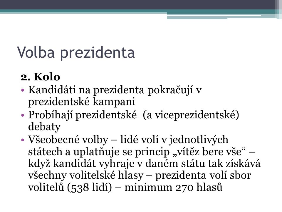 Volba prezidenta 2. Kolo. Kandidáti na prezidenta pokračují v prezidentské kampani. Probíhají prezidentské (a viceprezidentské) debaty.