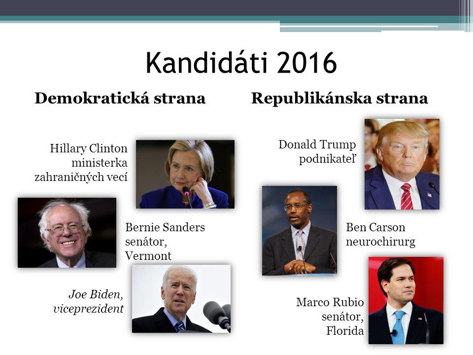Kandidáti 2016 Demokratická strana Republikánska strana Donald Trump
