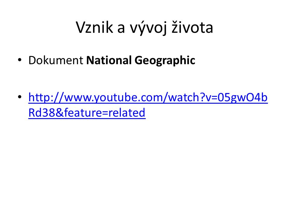 Vznik a vývoj života Dokument National Geographic