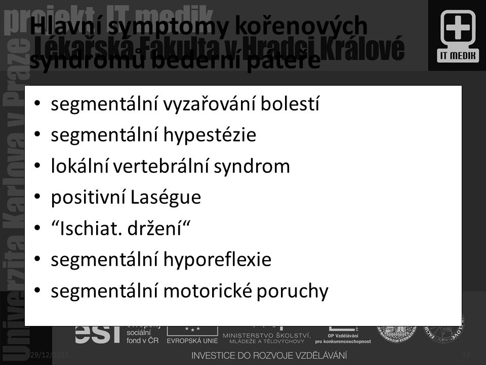 Hlavní symptomy kořenových syndromů bederní páteře