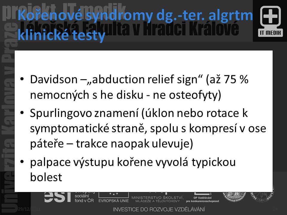 Kořenové syndromy dg.-ter. algrtm klinické testy