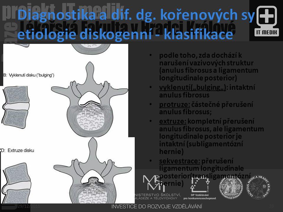 Diagnostika a dif. dg. kořenových sy etiologie diskogenní - klasifikace