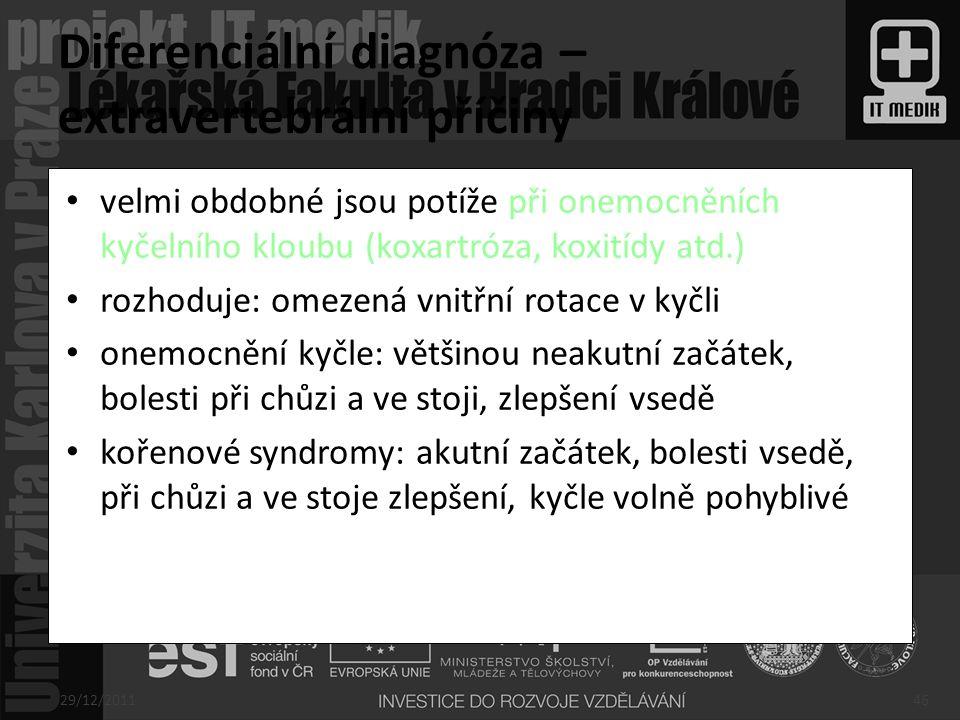 Diferenciální diagnóza – extravertebrální příčiny