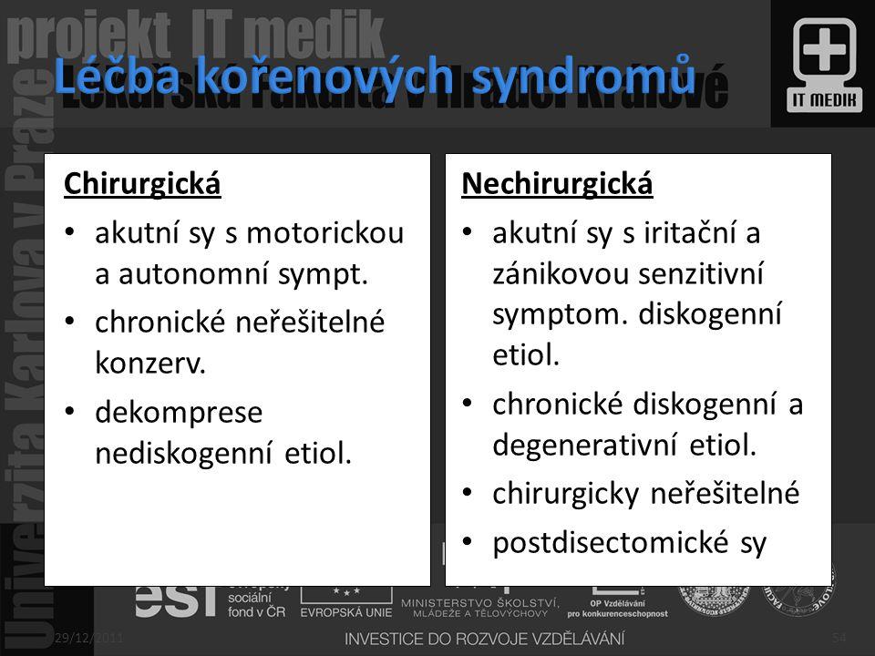 Léčba kořenových syndromů