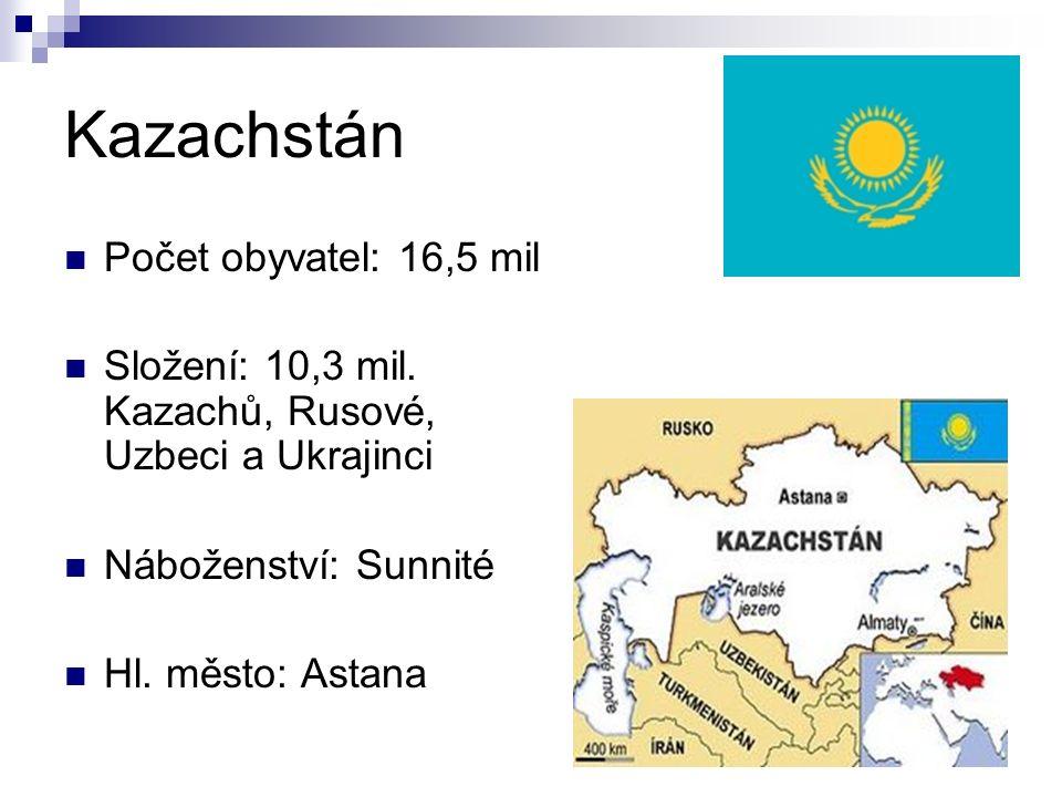 Kazachstán Počet obyvatel: 16,5 mil