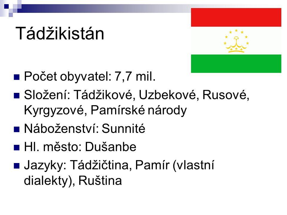 Tádžikistán Počet obyvatel: 7,7 mil.