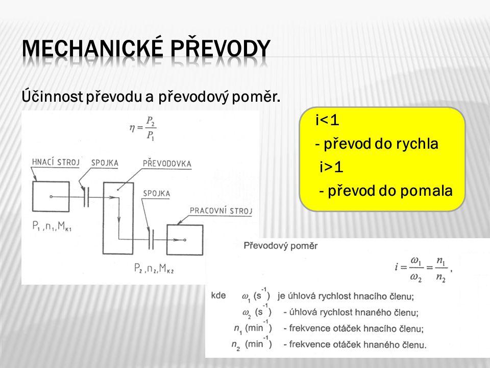 Mechanické převody Účinnost převodu a převodový poměr.