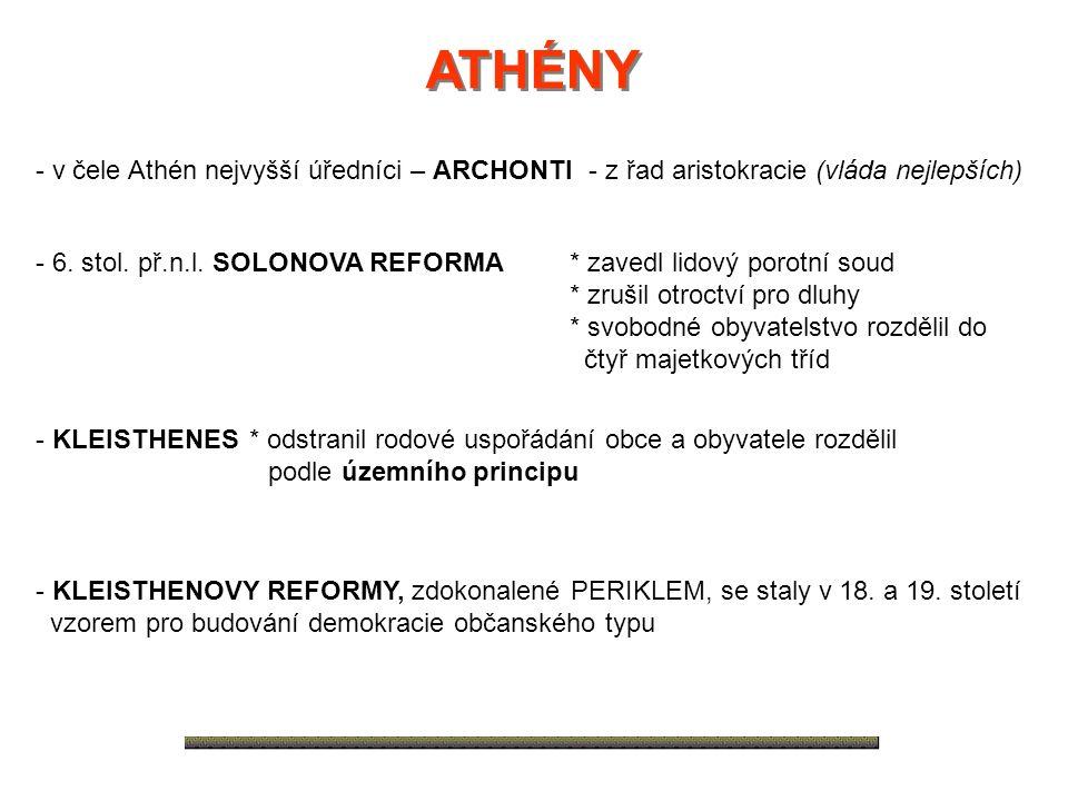 ATHÉNY - v čele Athén nejvyšší úředníci – ARCHONTI - z řad aristokracie (vláda nejlepších)