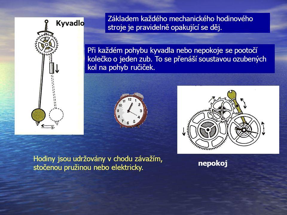 Základem každého mechanického hodinového stroje je pravidelně opakující se děj.