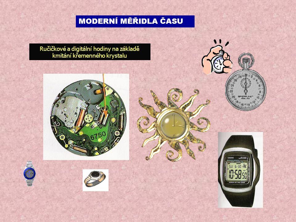 Ručičkové a digitální hodiny na základě kmitání křemenného krystalu