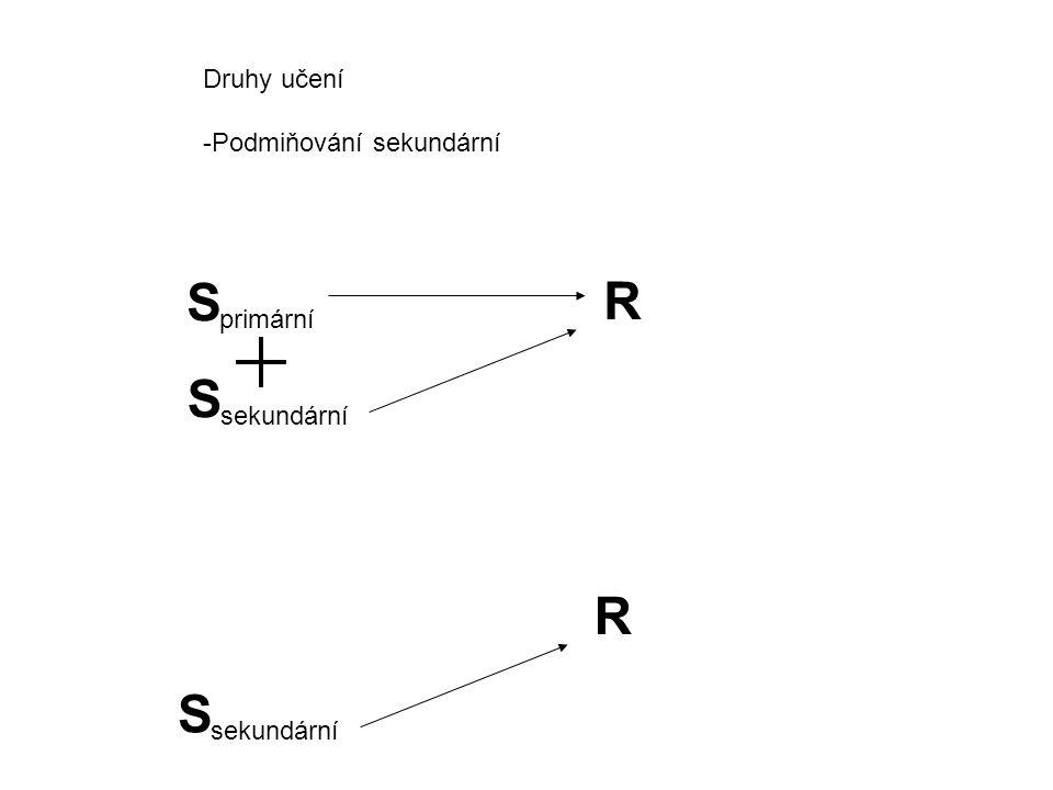 S R S R S Druhy učení Podmiňování sekundární primární sekundární