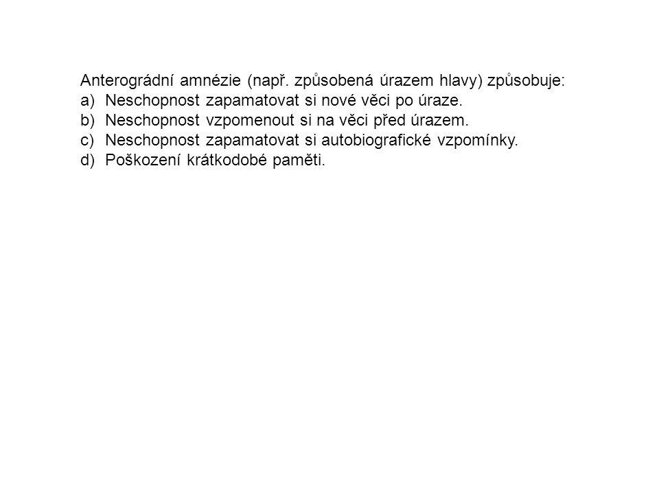 Anterográdní amnézie (např. způsobená úrazem hlavy) způsobuje: