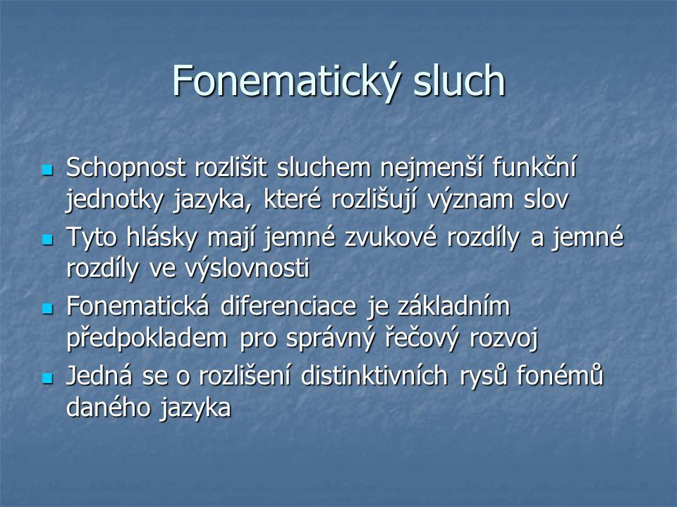 Fonematický sluch Schopnost rozlišit sluchem nejmenší funkční jednotky jazyka, které rozlišují význam slov.