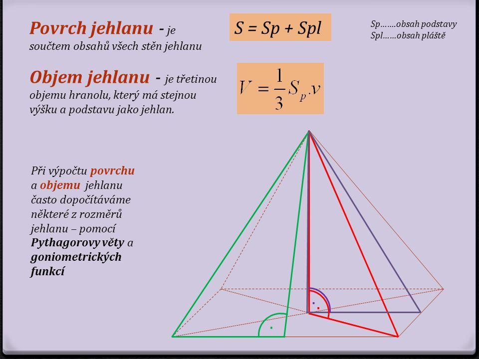 Povrch jehlanu - je součtem obsahů všech stěn jehlanu S = Sp + Spl