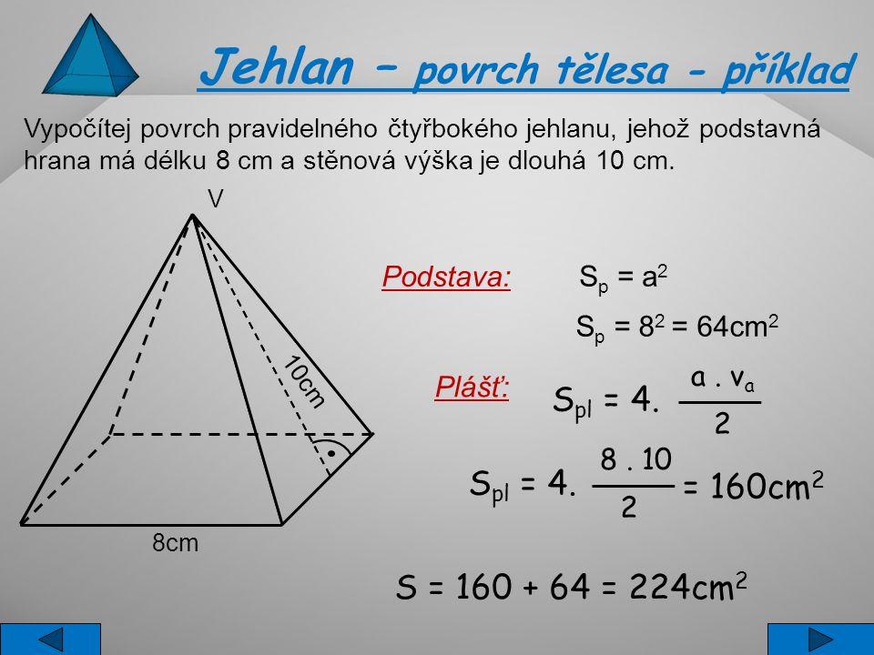 Jehlan – povrch tělesa - příklad