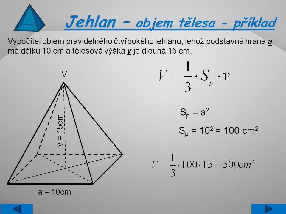 Jehlan – objem tělesa - příklad
