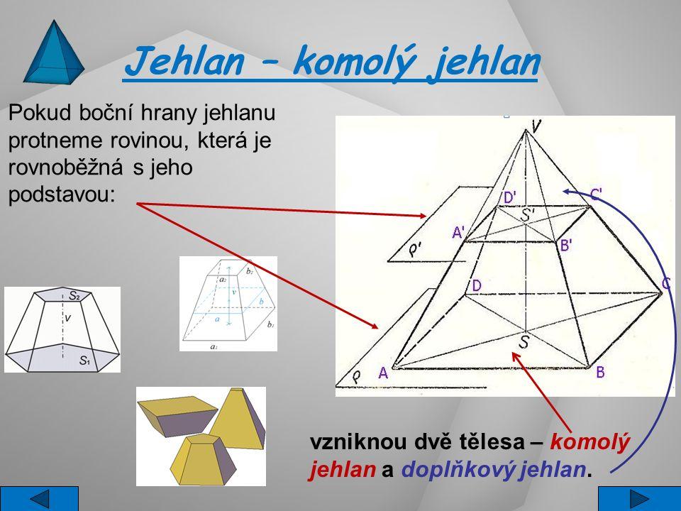 Jehlan – komolý jehlan Pokud boční hrany jehlanu protneme rovinou, která je rovnoběžná s jeho podstavou: