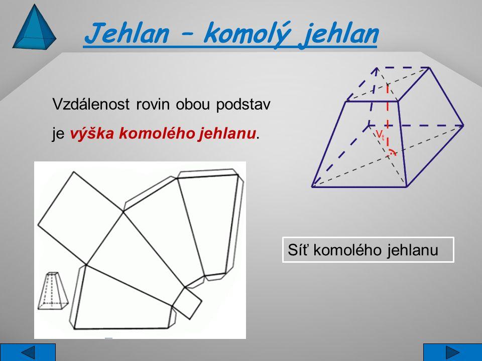 Jehlan – komolý jehlan Vzdálenost rovin obou podstav