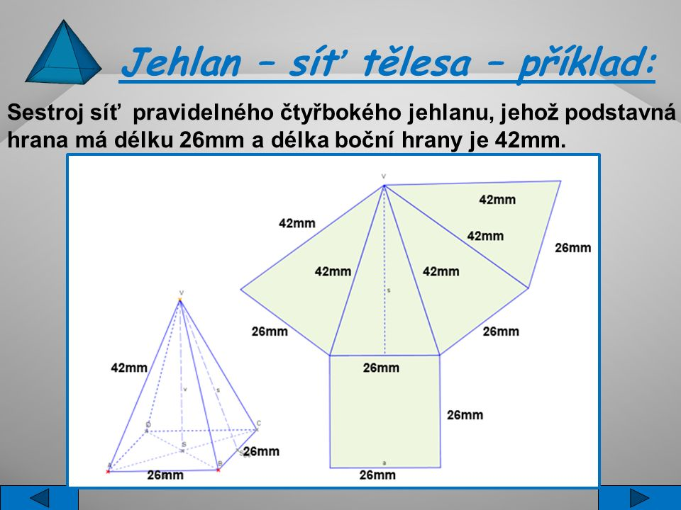 Jehlan – síť tělesa – příklad: