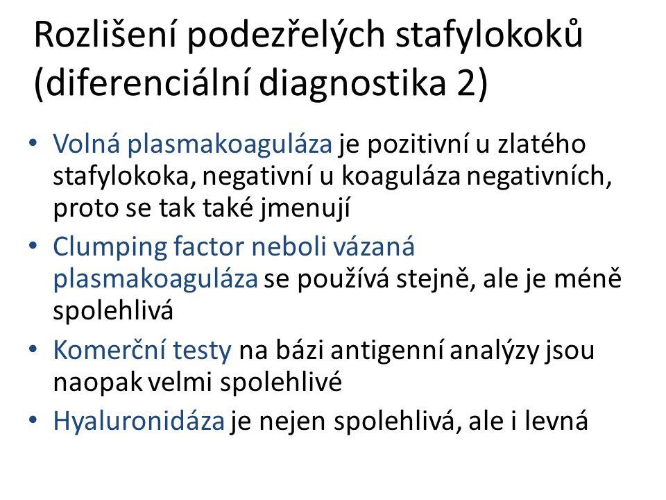 Rozlišení podezřelých stafylokoků (diferenciální diagnostika 2)