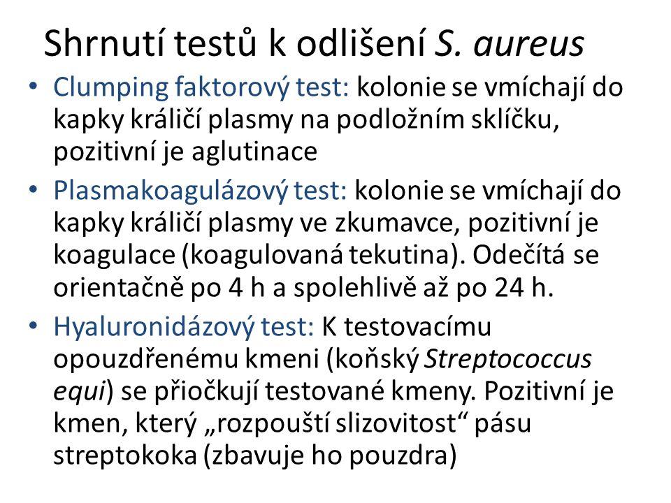 Shrnutí testů k odlišení S. aureus