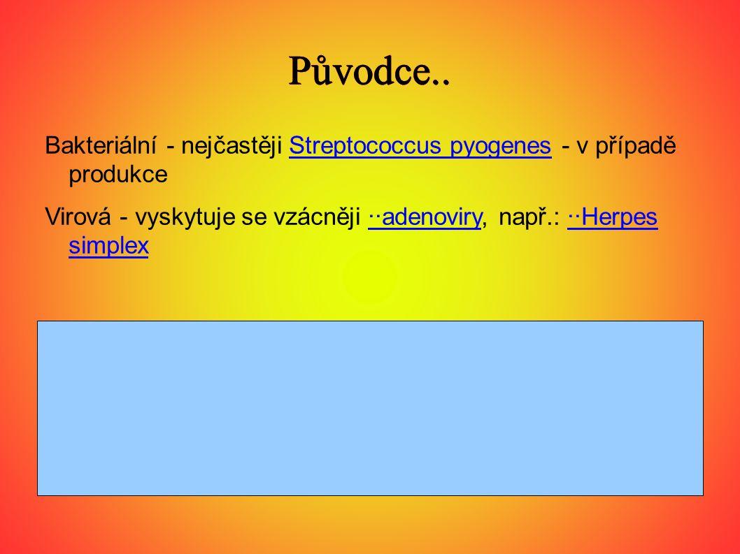 Původce.. Bakteriální - nejčastěji Streptococcus pyogenes - v případě produkce.