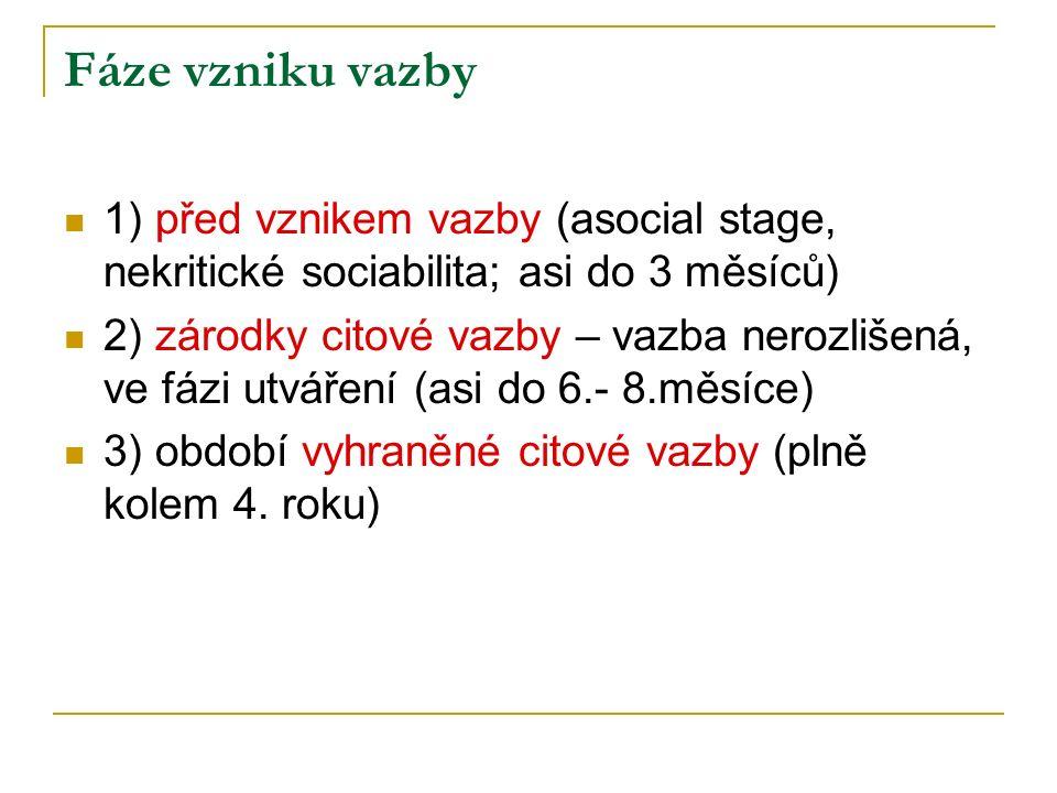 Fáze vzniku vazby 1) před vznikem vazby (asocial stage, nekritické sociabilita; asi do 3 měsíců)