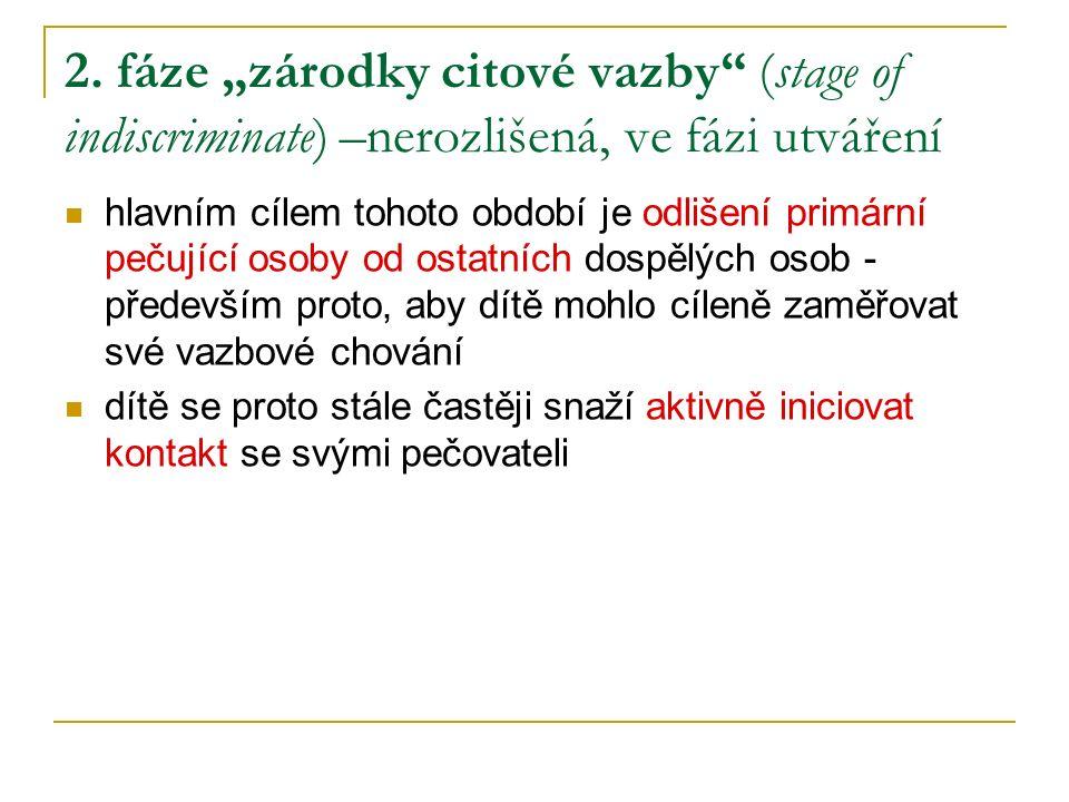 """2. fáze """"zárodky citové vazby (stage of indiscriminate) –nerozlišená, ve fázi utváření"""