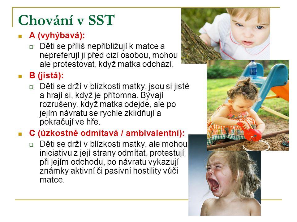 Chování v SST A (vyhýbavá): B (jistá):