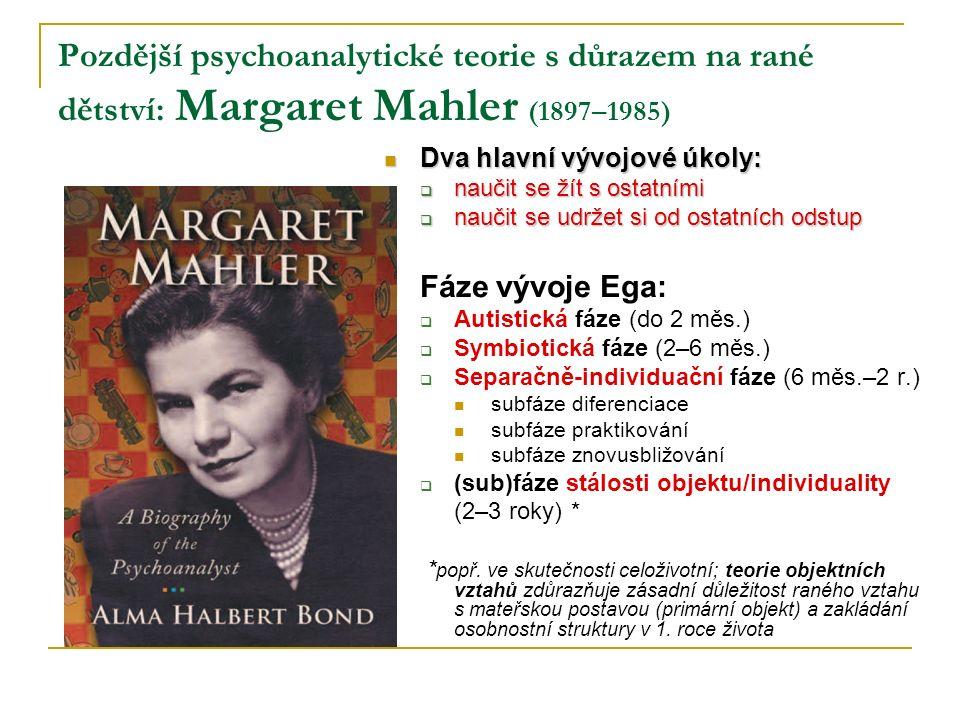 Pozdější psychoanalytické teorie s důrazem na rané dětství: Margaret Mahler (1897–1985)
