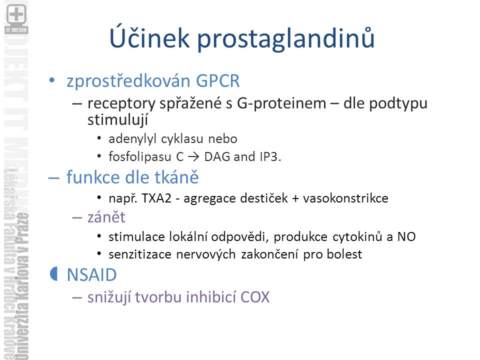 Účinek prostaglandinů