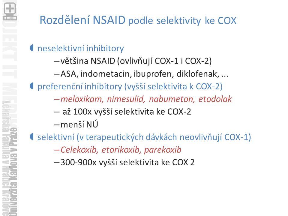 Rozdělení NSAID podle selektivity ke COX