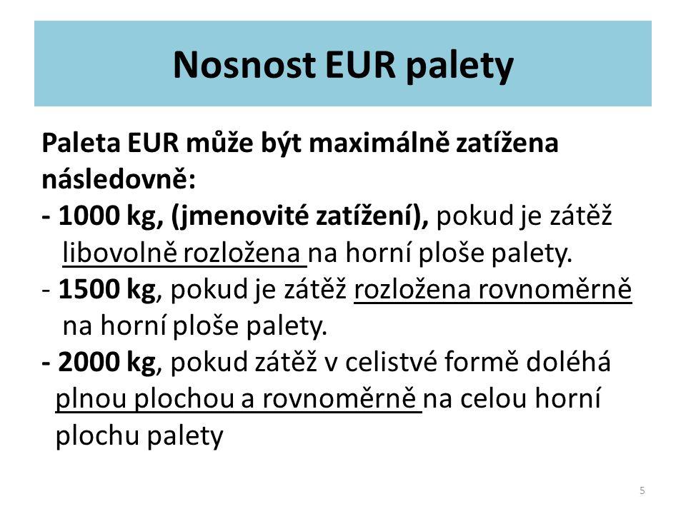 Nosnost EUR palety Paleta EUR může být maximálně zatížena následovně: