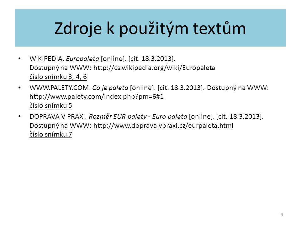 Zdroje k použitým textům
