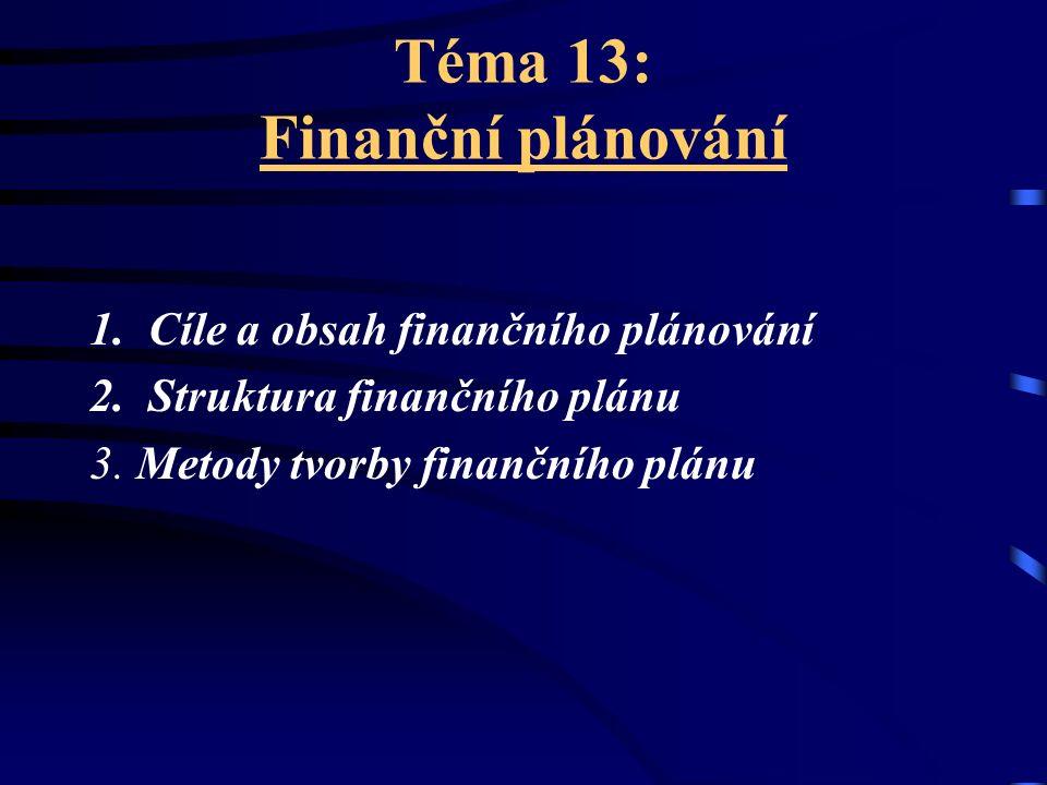 Téma 13: Finanční plánování