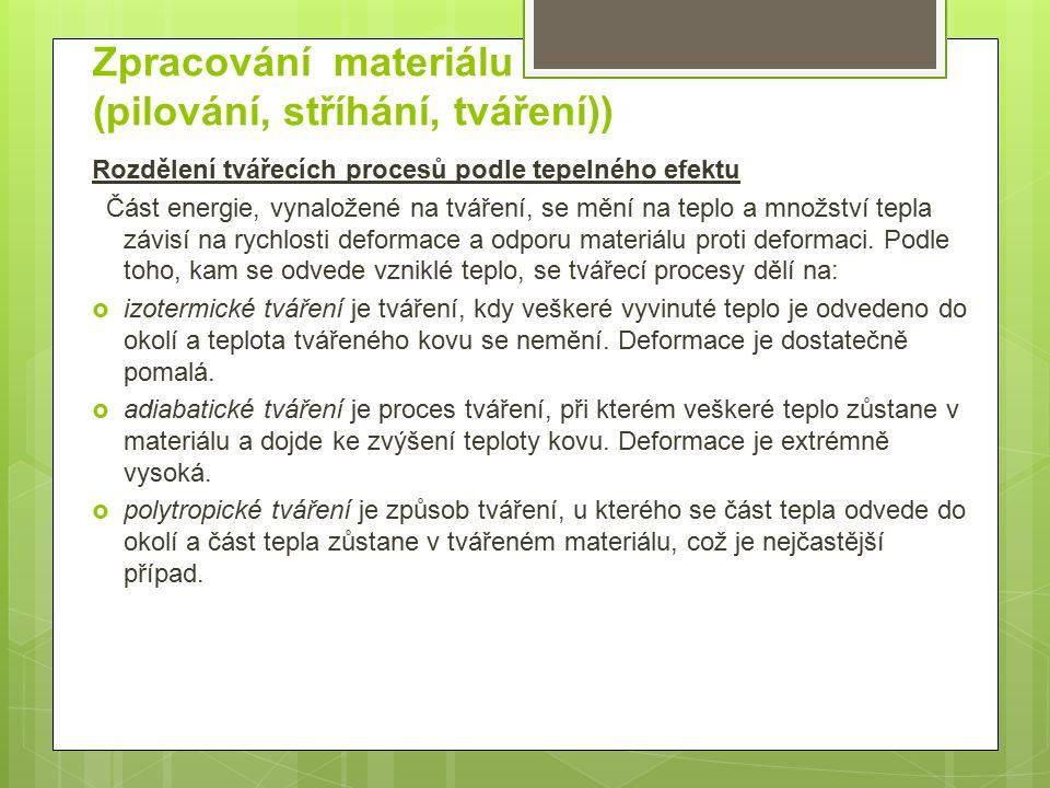 Zpracování materiálu (pilování, stříhání, tváření))