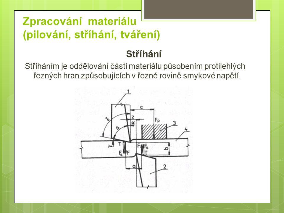 Zpracování materiálu (pilování, stříhání, tváření)