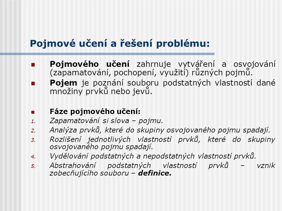Pojmové učení a řešení problému: