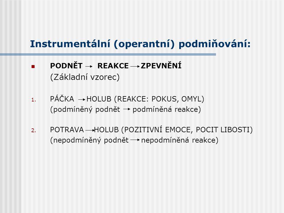 Instrumentální (operantní) podmiňování: