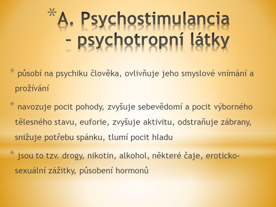 A. Psychostimulancia – psychotropní látky